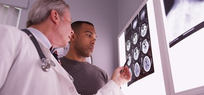 brain scan with patient of family carer